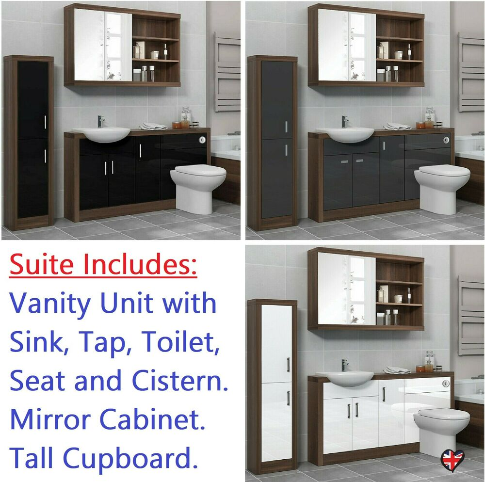 Bathroom Fitted Furniture 1500mm Vanity Unit With Toilet And Sink Grey & Silver