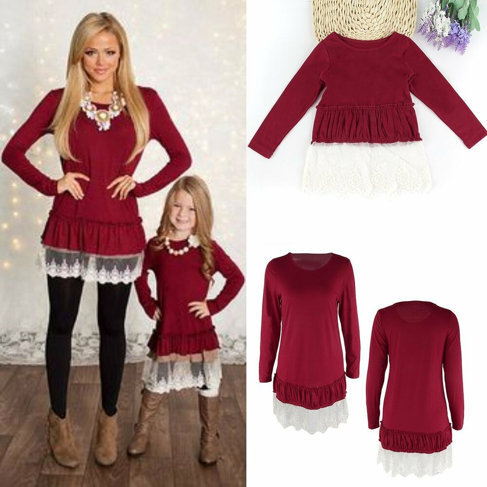 Mother & Daughter Lace Dress Kid Girl Parent Family ...