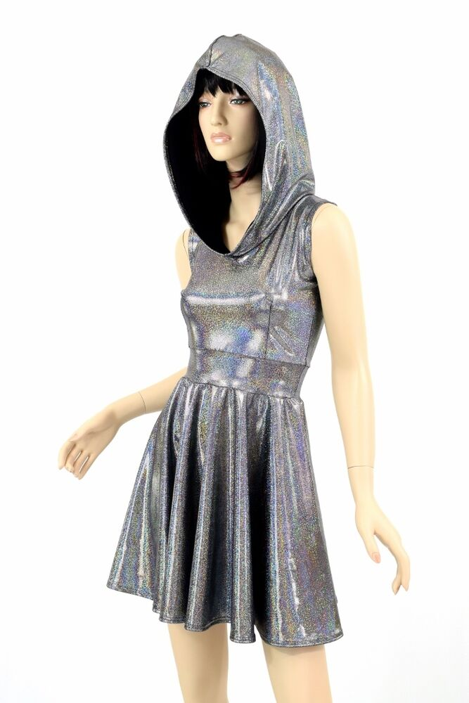 Silver Holographic Sleeveless Hoodie Skater Space Rave