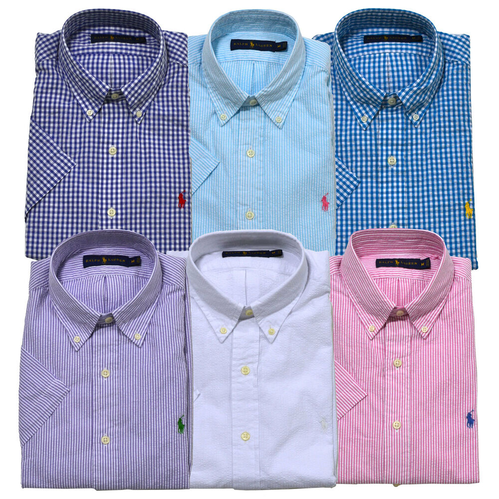 Polo ralph lauren shirt button down seersucker mens short for Mens short sleeve seersucker shirts