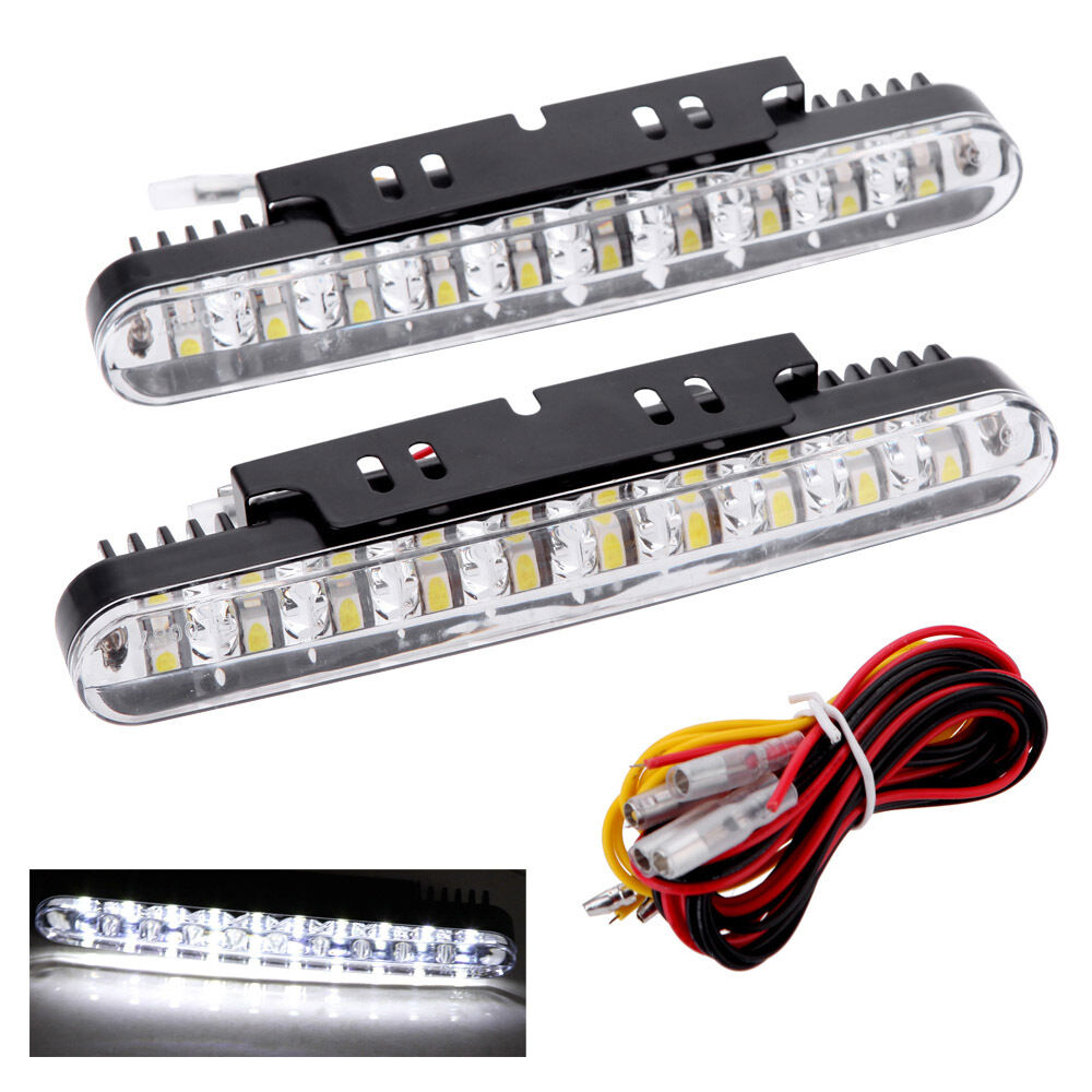 2pcs 30 led car daytime running light drl with turn signal indicators blub s5x6 ebay. Black Bedroom Furniture Sets. Home Design Ideas