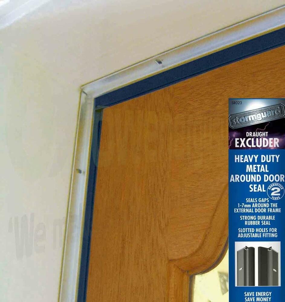 Around door seal heavy duty rubber draught excluder proofing strip by stormguard ebay for Exterior door draught excluder