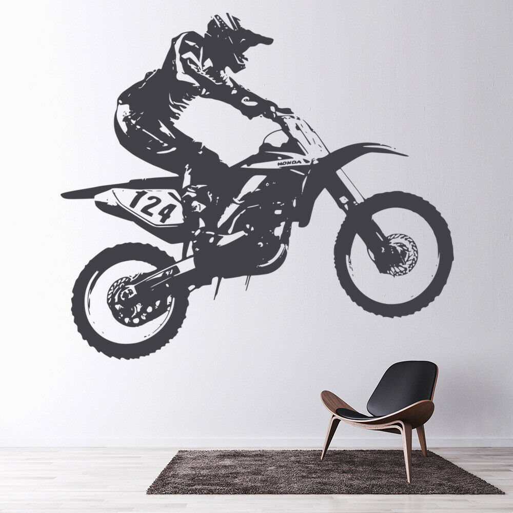 Honda dirt bike motocross bike motorbike wall stickers for Dirt bike wall mural
