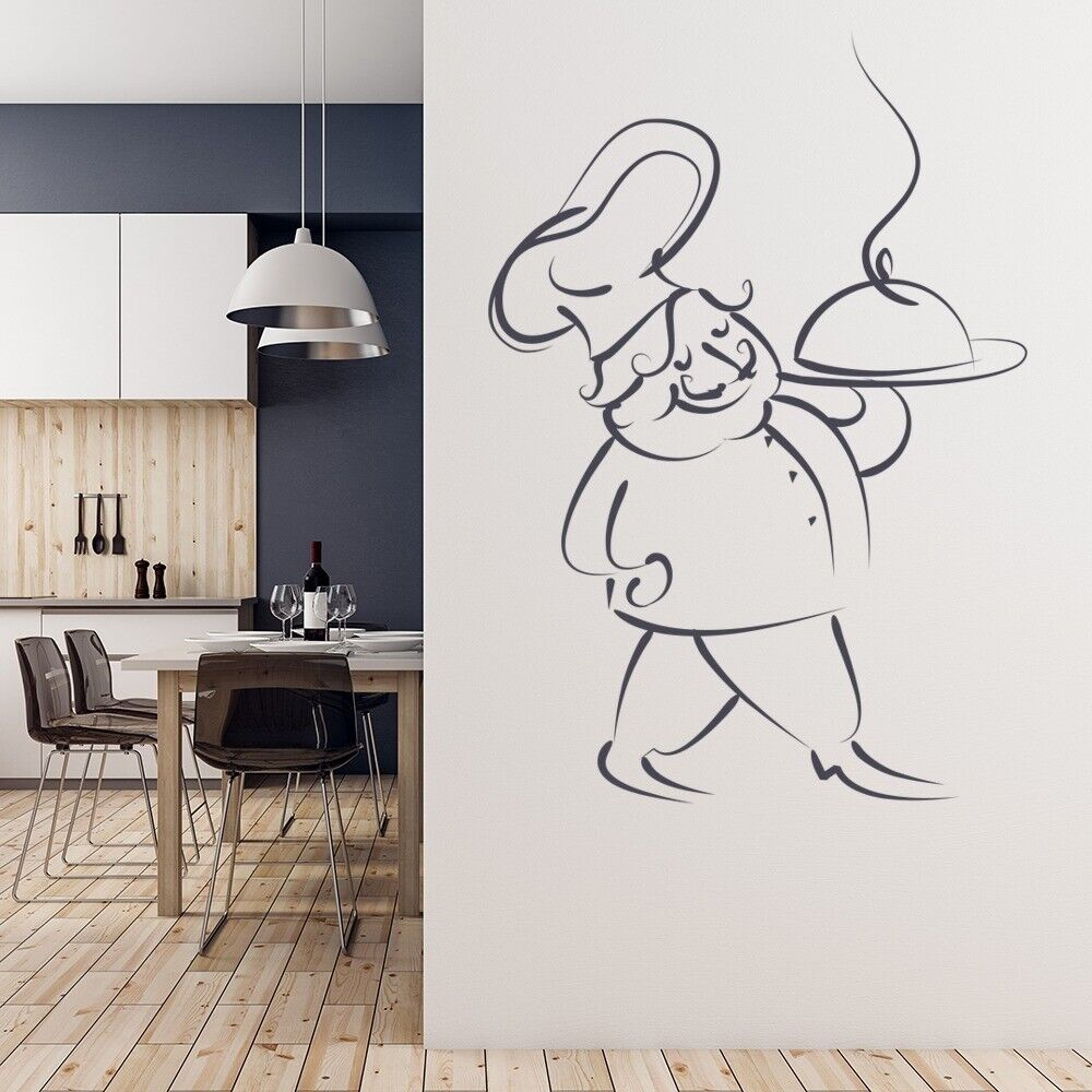 Chef Serving Food Wall Sticker Kitchen Wall Decal