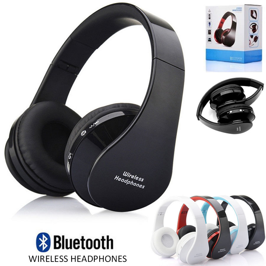 foldable wireless bluetooth stereo mic headset headphones. Black Bedroom Furniture Sets. Home Design Ideas