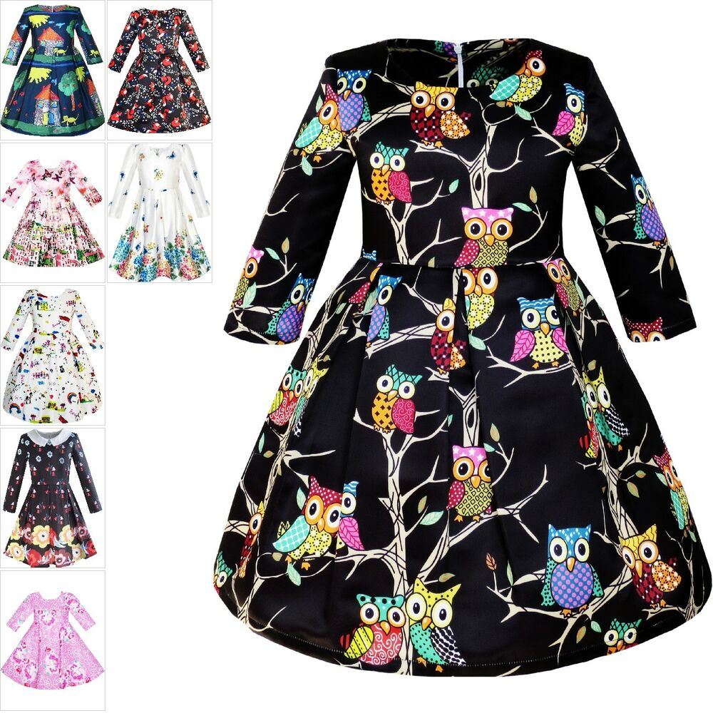 Dresses For Girls: Girls Dress Fit-and-flare Owl Print Party Long Sleeve Cute