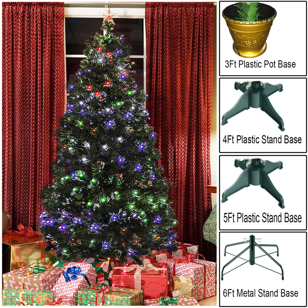 GREEN FIBER OPTIC CHRISTMAS TREE PRE LIT 8 FUNCTION INDOOR ...