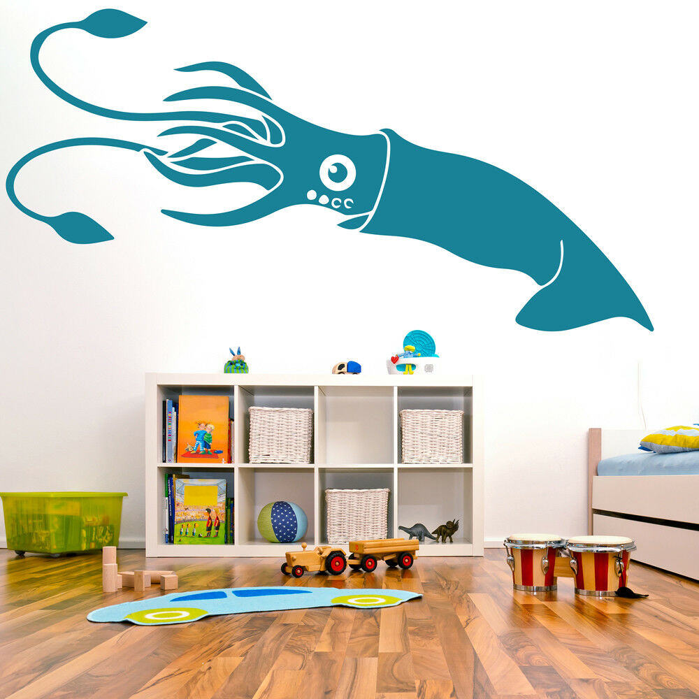 Bathroom Sea Wall Decor : Squid classic sea life under the wall stickers