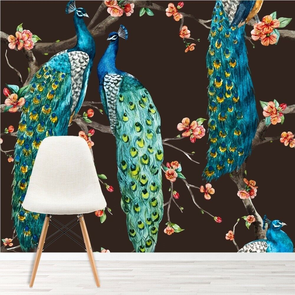 Blue peacock wall mural pink cherry blossom photo for Home wallpaper ebay