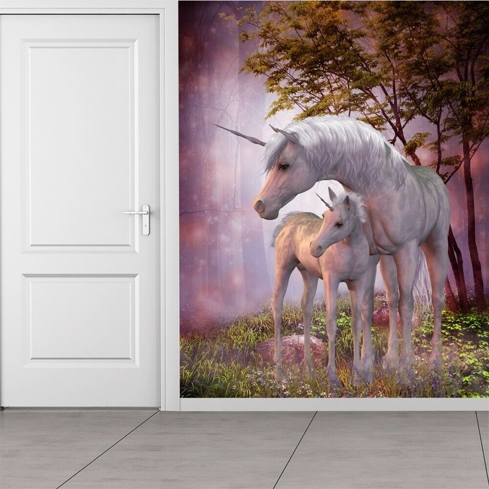 Magical Unicorn Amp Foal In Forest Fantasy Wall Mural Kids