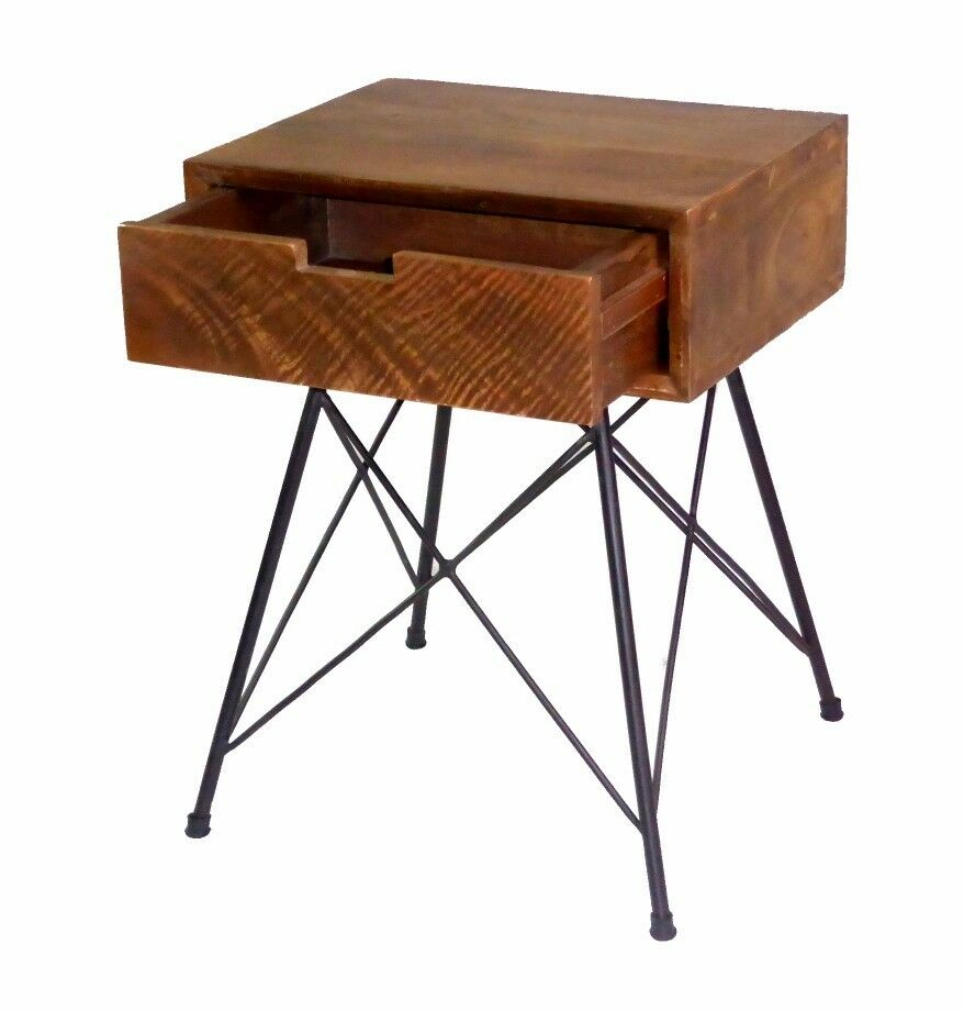 Industrial Bedside Table Mango Wood Nightstand With