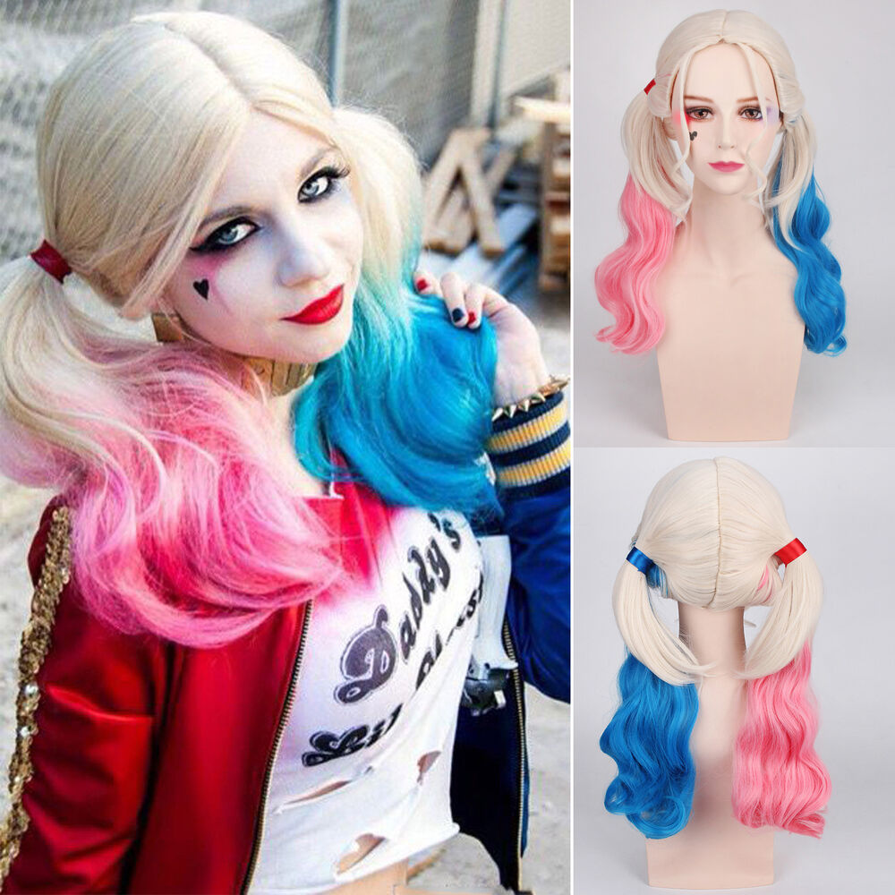 Suicide Squad Harley Quinn Curly Wig Gradient Hair Pink & Blue Cosplay Costume | eBay