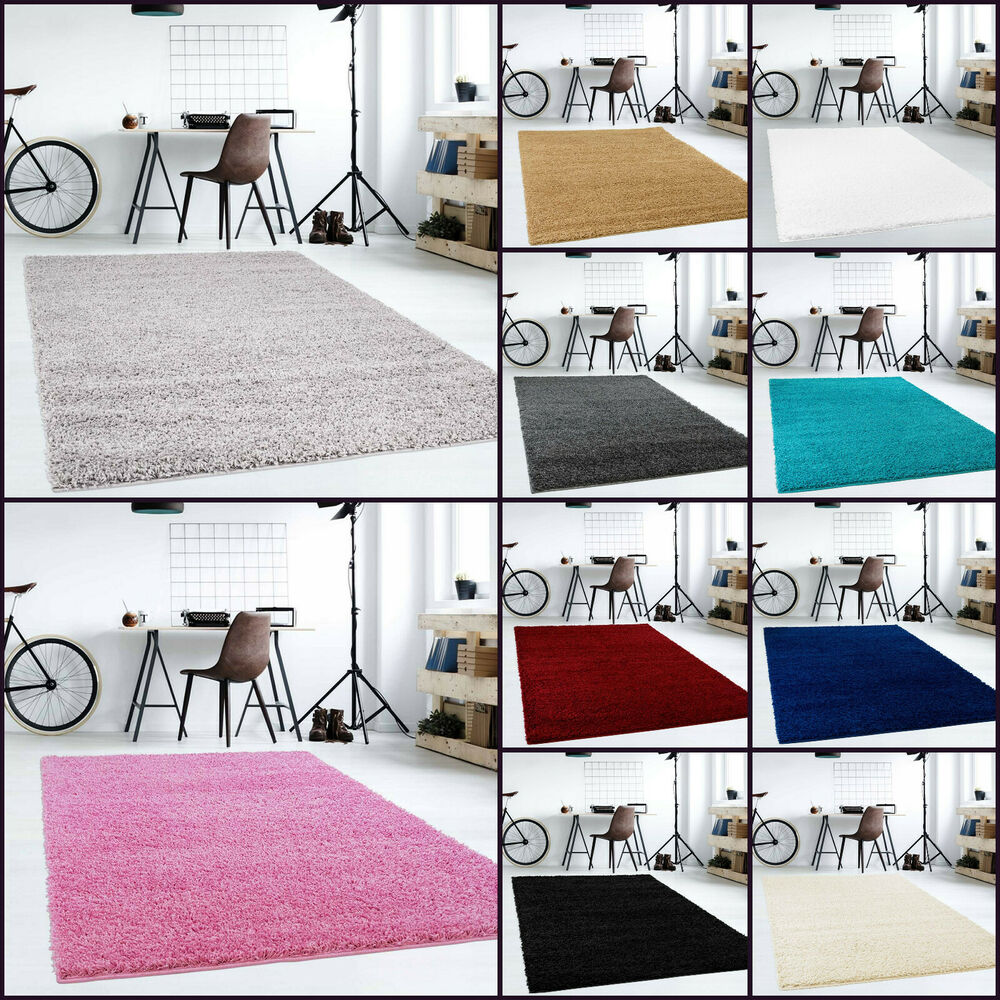 shaggy trend hochflor langflor teppich wohnzimmer carpet uni farben neu ovp wow ebay. Black Bedroom Furniture Sets. Home Design Ideas