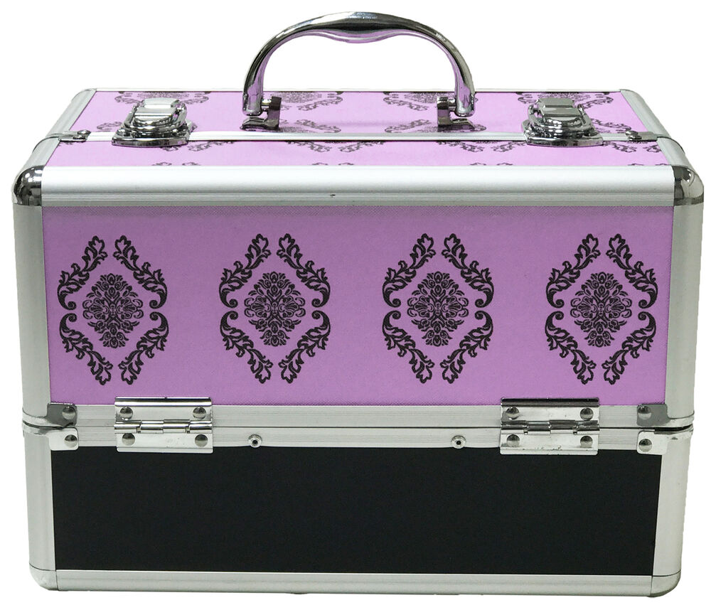 purple large beauty damask cosmetic box make up vanity case nail tech salon bag ebay. Black Bedroom Furniture Sets. Home Design Ideas