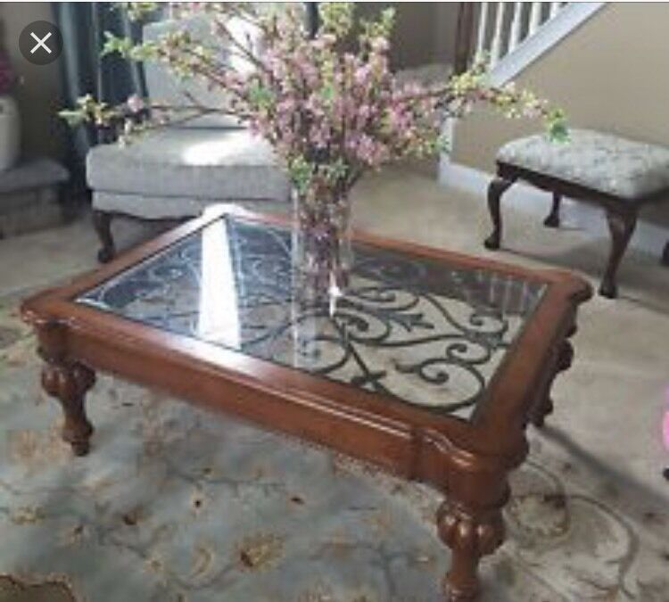 Ethan Allen Tuscan Coffee Table: Ethan Allen Tuscan Scroll Coffee Table $1799