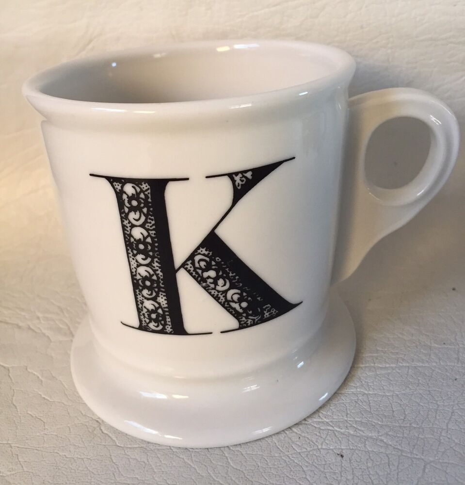 Anthropologie monogram k coffee mug cup letter initial for Monogram letters for cups