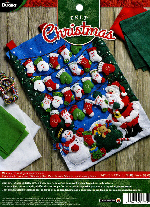 Advent Calendar Diy Kit : Bucilla mittens stockings advent calendar felt