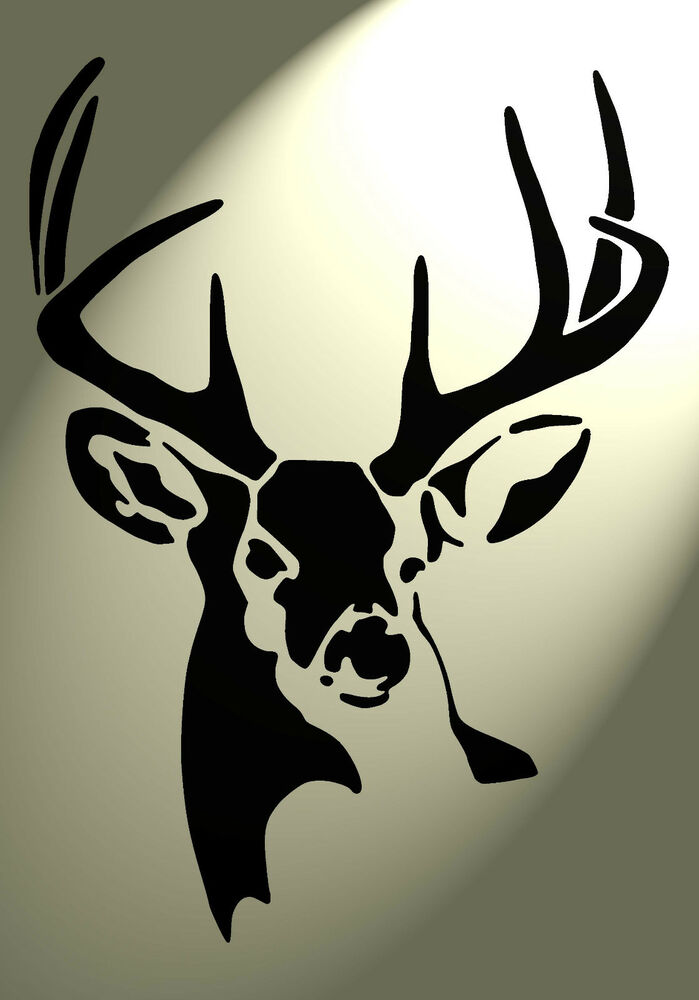 shabby chic plastic stencil stag deer head vintage a4 297x210mm wall design 4 ebay. Black Bedroom Furniture Sets. Home Design Ideas