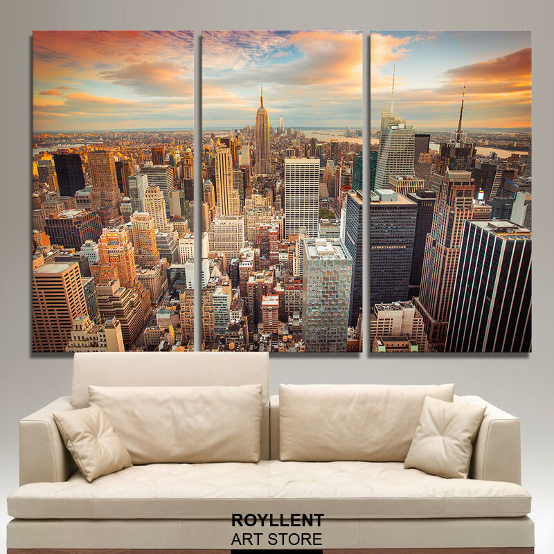 Framed Canvas Painting Picture Print Wall Art Decor Landscape New York City 3pc Ebay