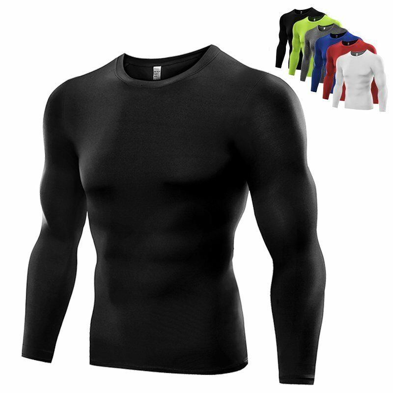 Mens compression under base layer top tight long sleeve t for Compression tee shirts for men