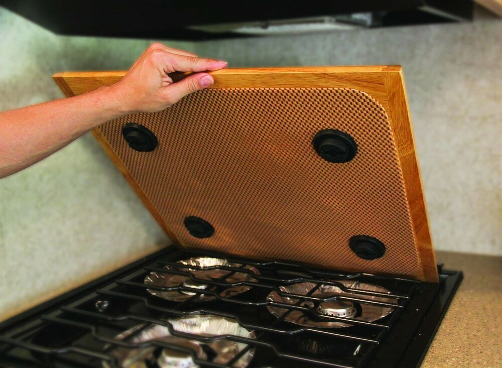 Stove Top Cover Wooden Counter Mat Travel Rv Kitchen Gas