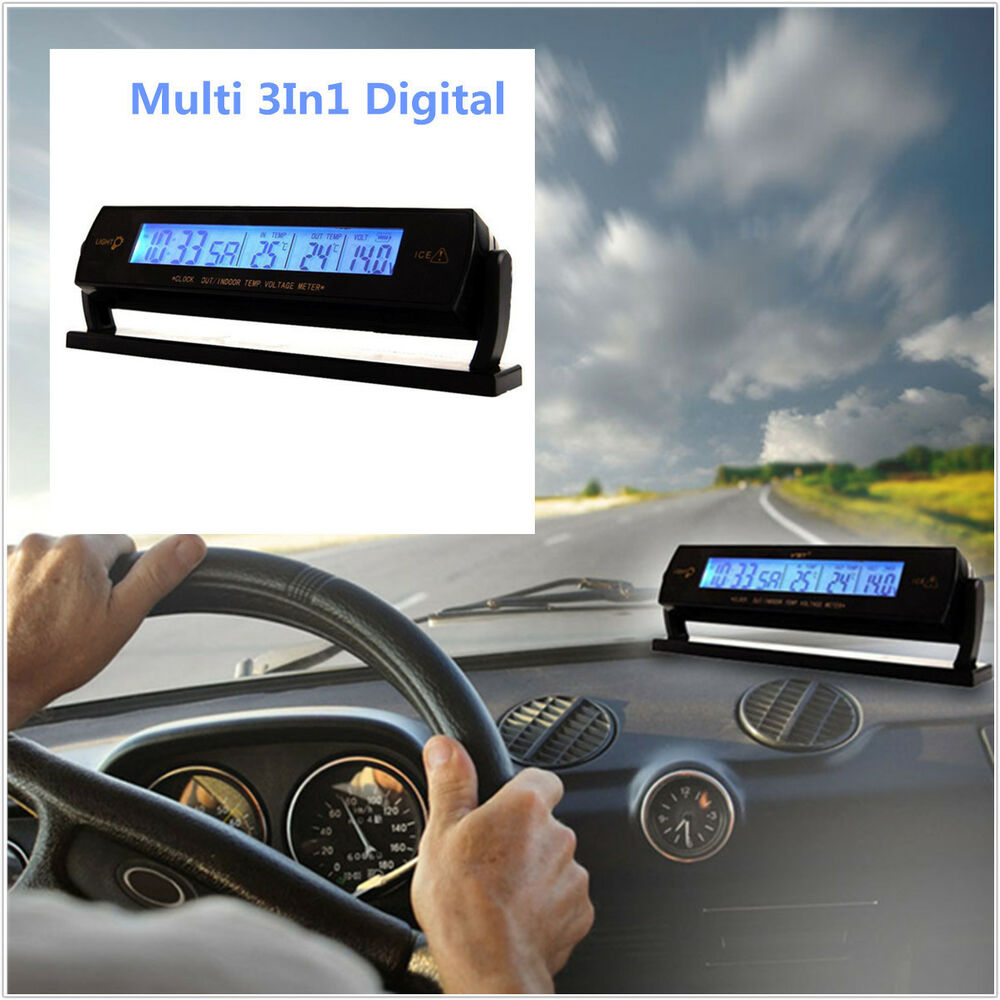 car auto voltage digital monitor battery alarm clock lcd. Black Bedroom Furniture Sets. Home Design Ideas