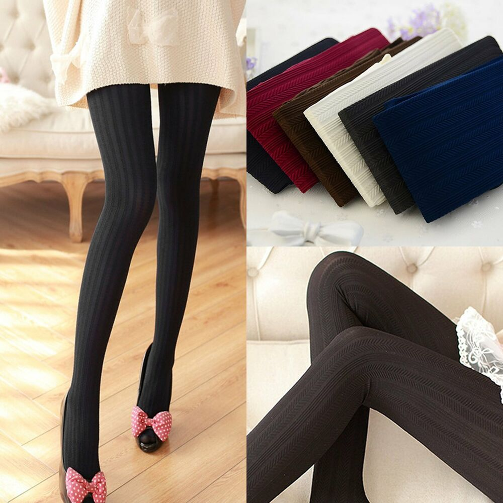 Women Winter Pantyhose Tights Thick Knit Fashion Footed ...