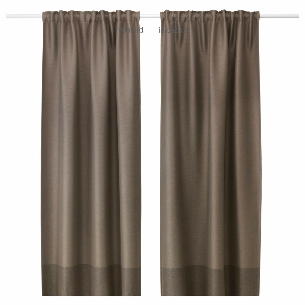 Ikea Marjun Brown Block Out Curtains Window Drapes Thick