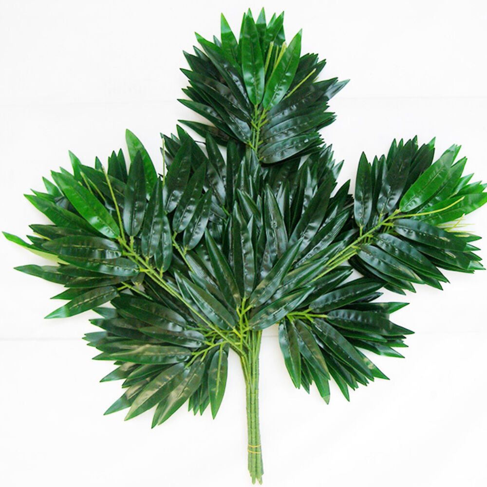 2pc artificial bamboo leaf plants plastic tree branches 20 for Decoration leaves