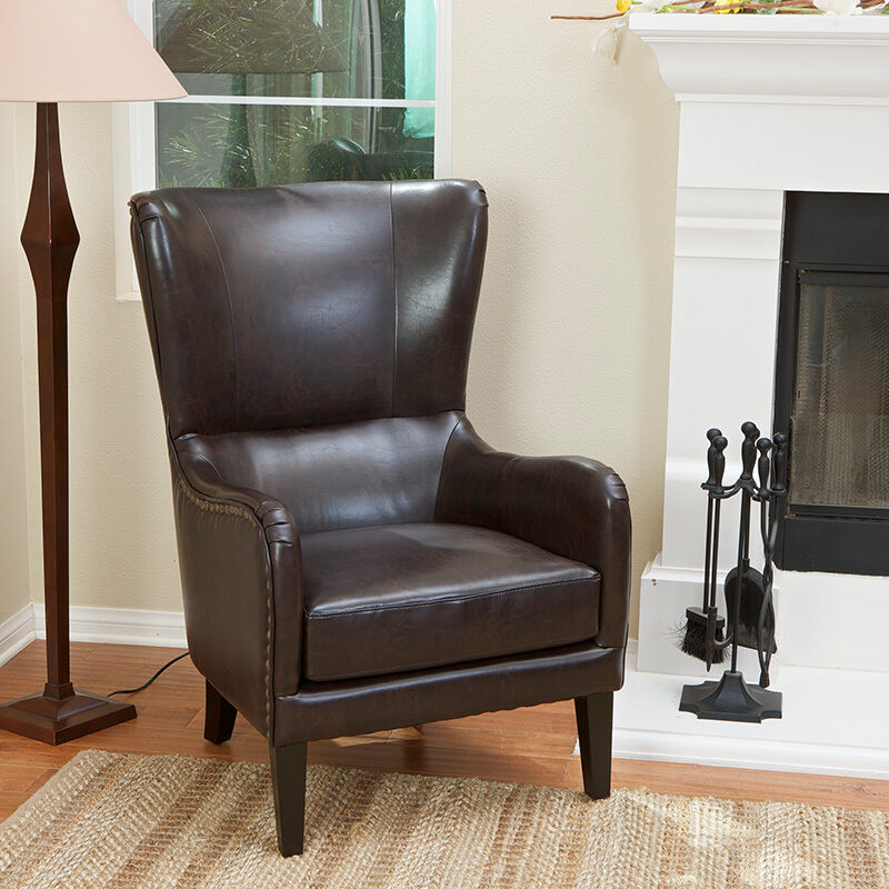 Elegant Wingback Design Brown Leather With Nail Heads