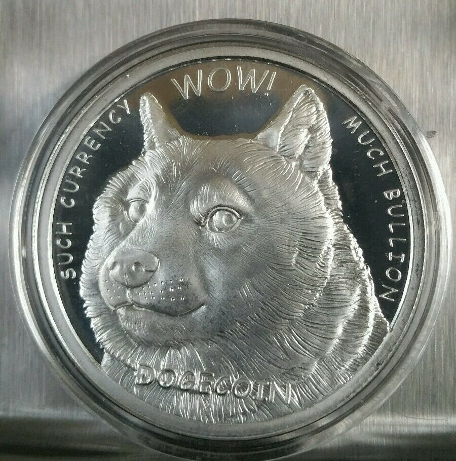 Dogecoin Proof Like 1 Oz 999 Fine Silver Commemorative Crypto Currency Dog Moon Ebay
