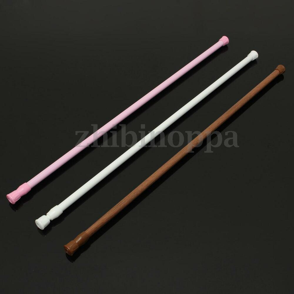 Spring Loaded Extendable Telescopic Net Voile Tension Curtain Rod Pole Rods Rail Ebay