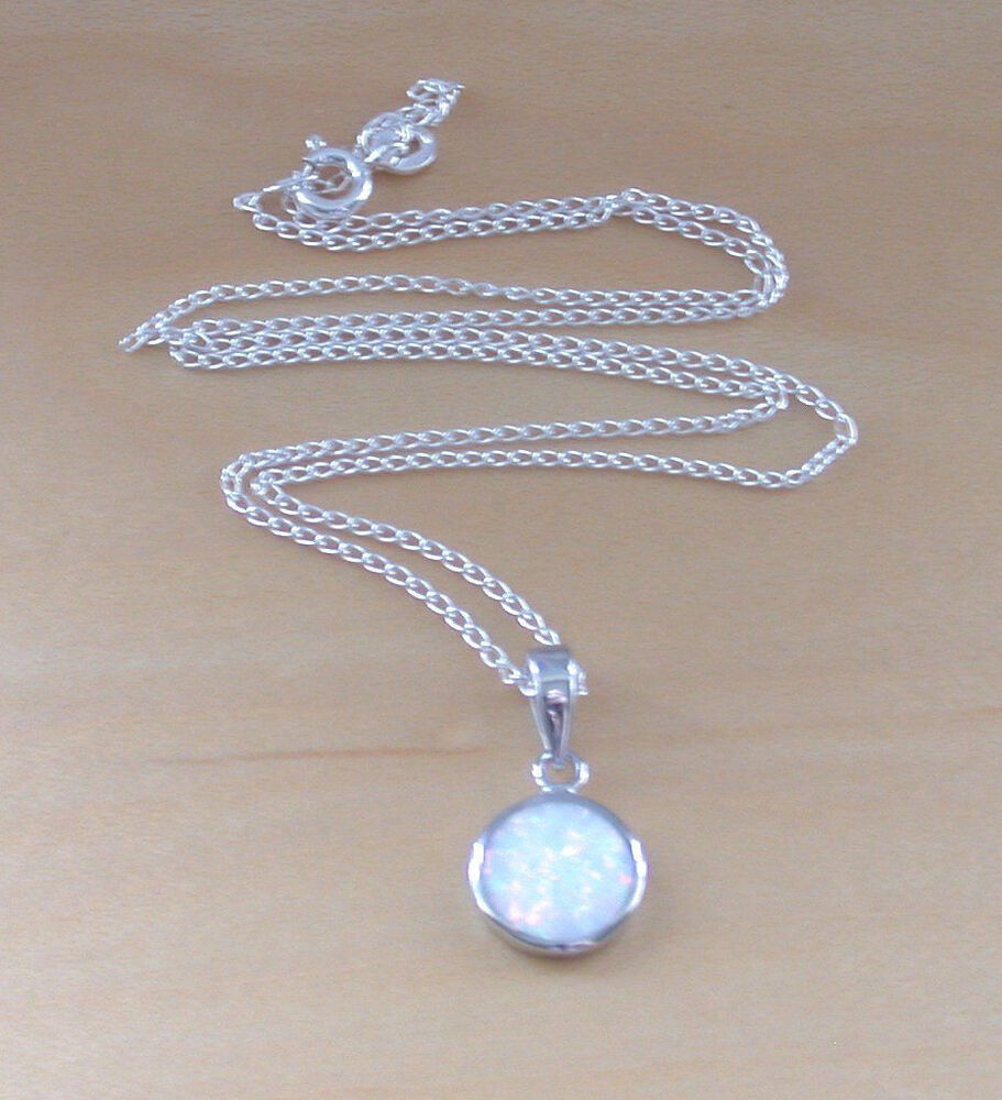 925 white opal pendant 18 quot sterling silver chain opal