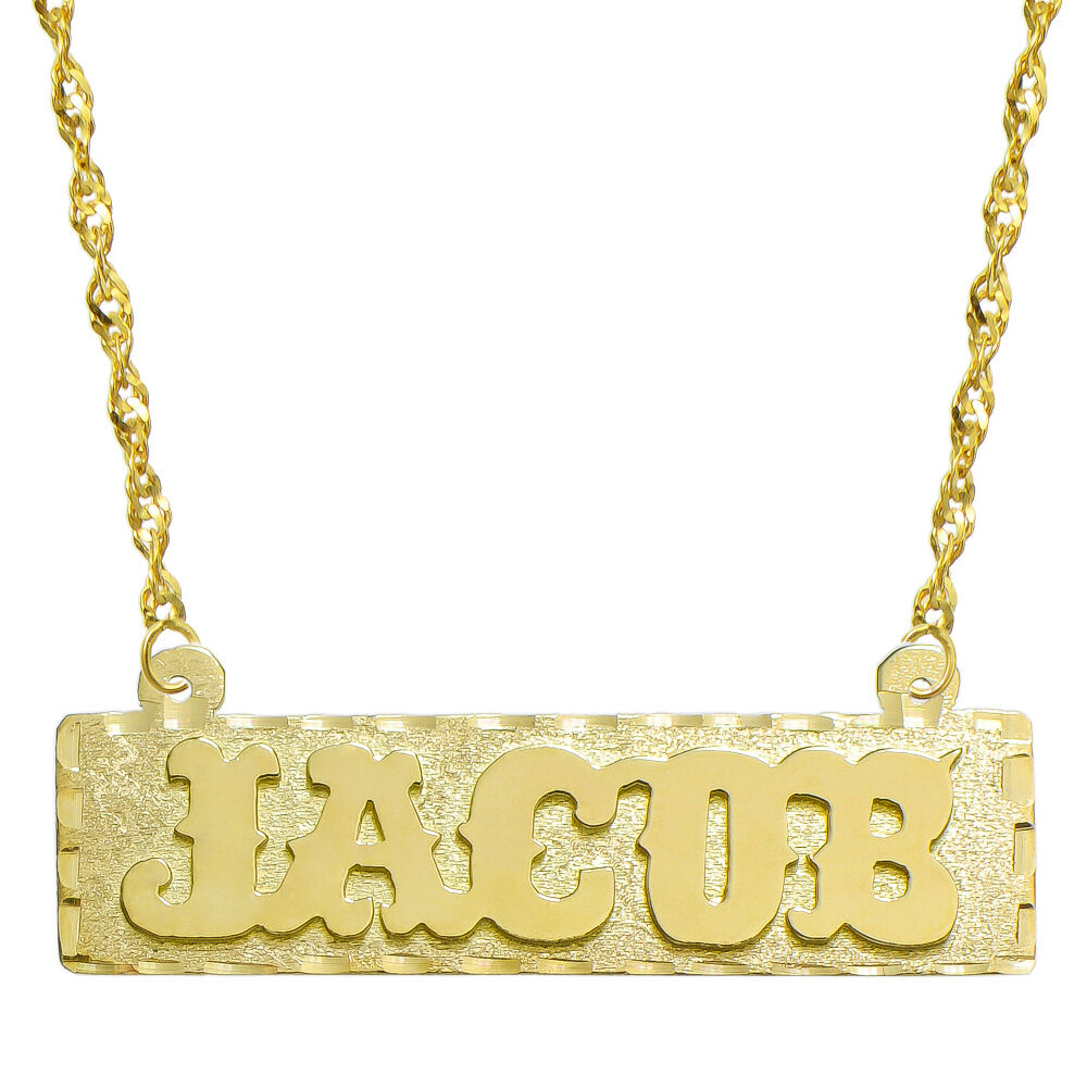 14k yellow gold personalized name plate necklace style 4. Black Bedroom Furniture Sets. Home Design Ideas