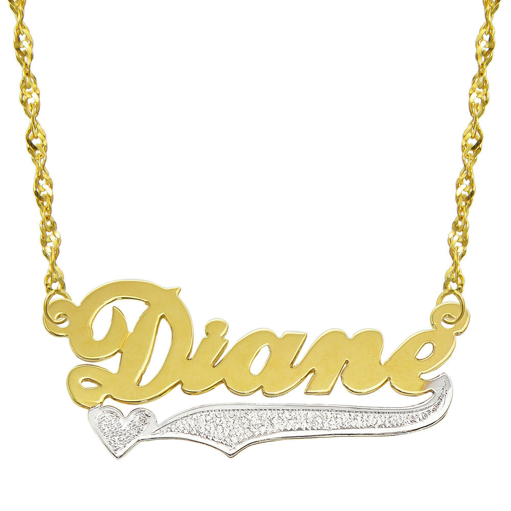 14k Two Tone Gold Personalized Name Plate Necklace - Style ... Name Plate Earrings