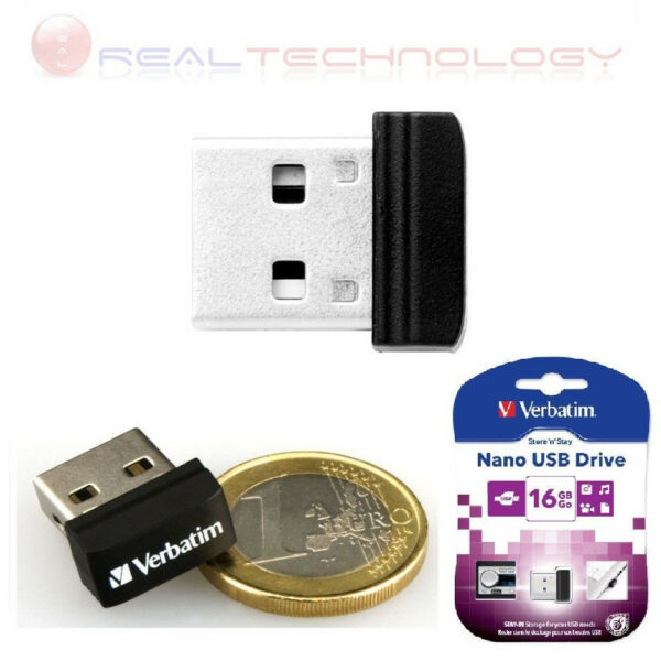 PENNETTA PEN DRIVE Flash USB 2.0 16GB Verbatim Nano Store'n'Stay 97464