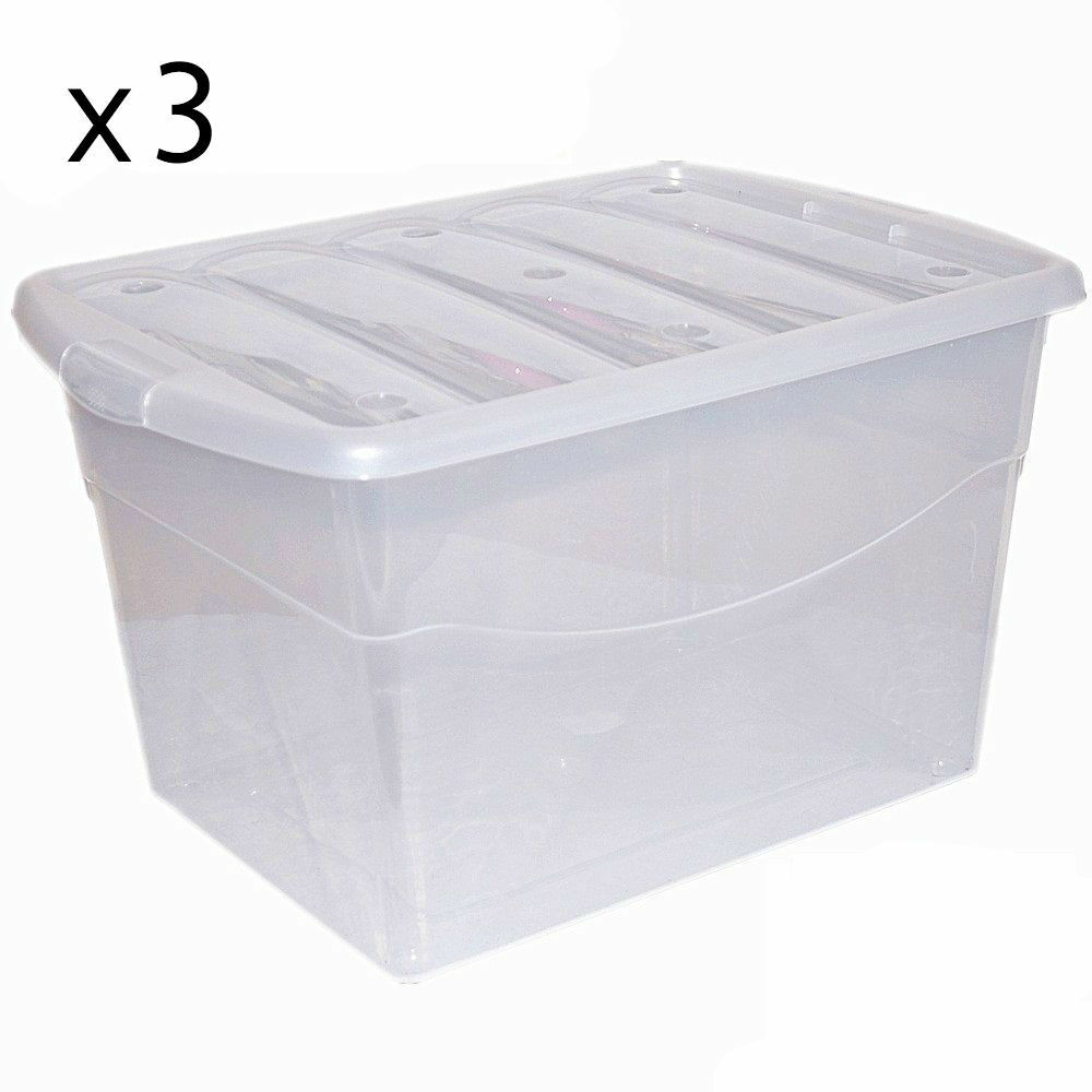 3 x 100L Extra Strong Plastic Storage Clear Box