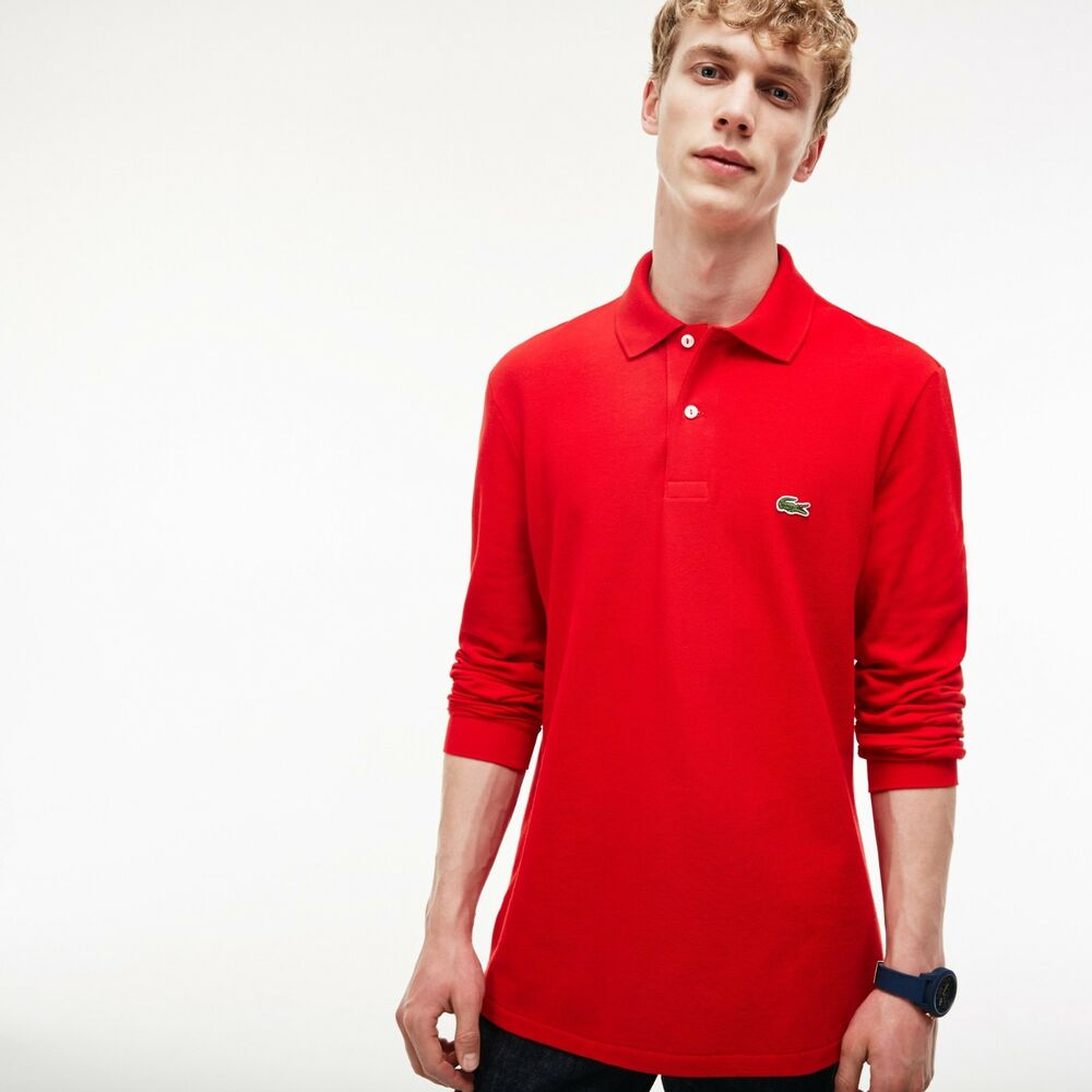 Lacoste Mens Classic L1212 Long Sleeve Pique Polo Shirt Red