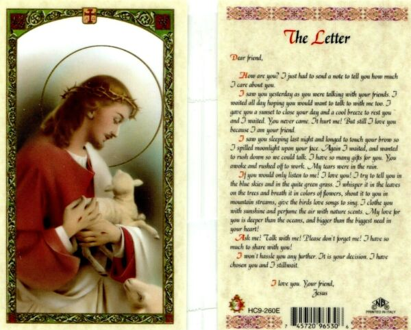 A Letter From Jesus Laminated Prayer Card Read How Much He Cares HC9-260E