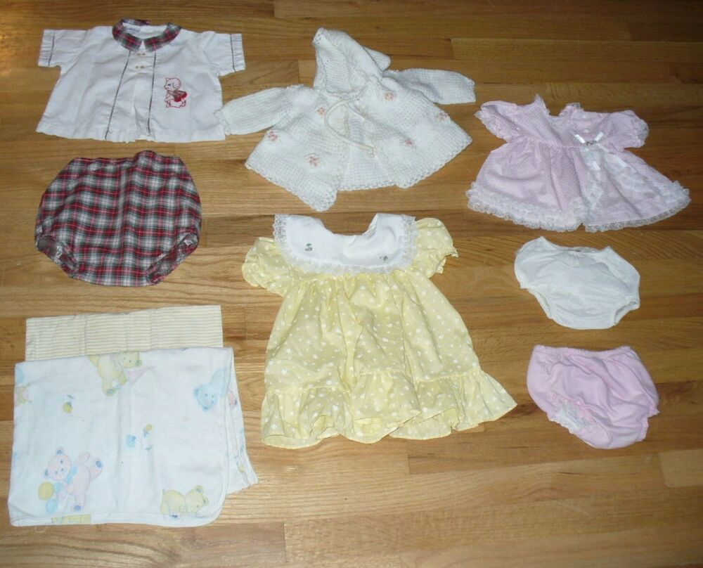 9 PIECE LOT OF VINTAGE REAL BABY CLOTHES DOLL CLOTHES
