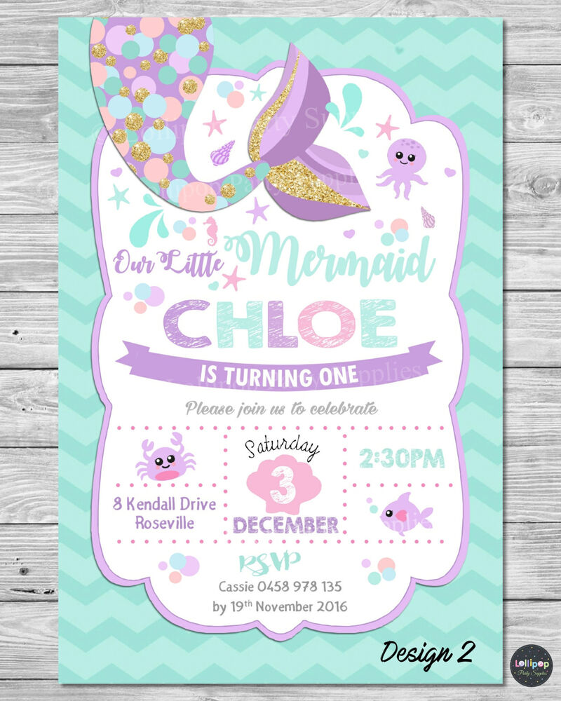 LITTLE MERMAID INVITATIONS INVITE 1ST FIRST BIRTHDAY PARTY