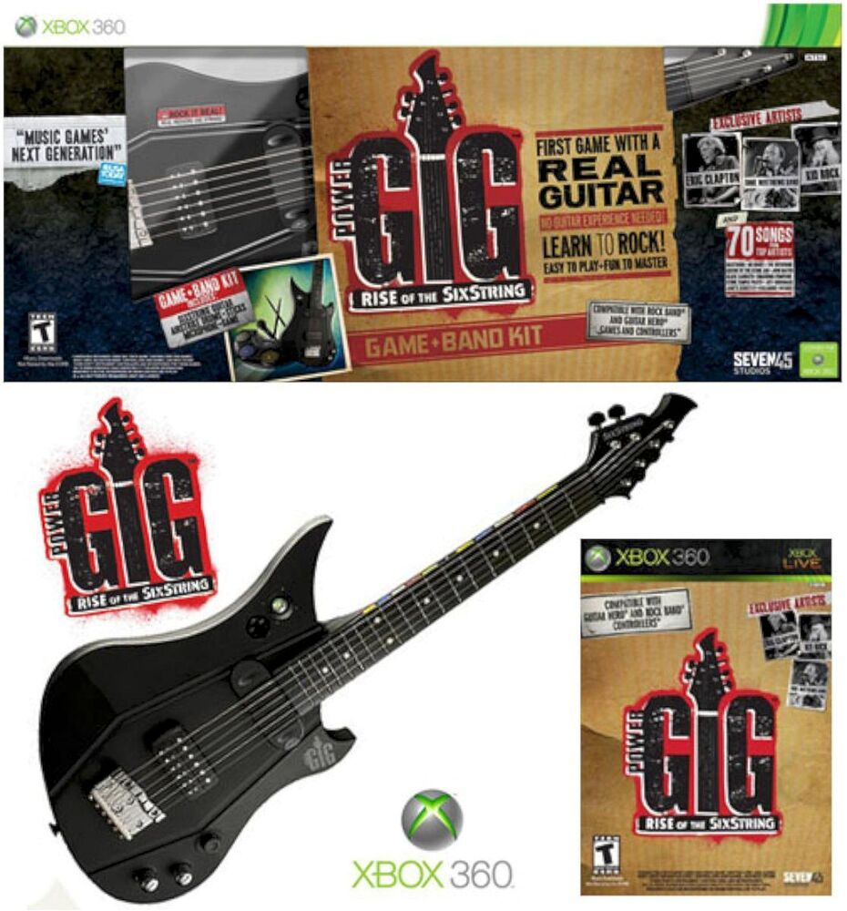 xbox 360 power gig guitar bundle set rise of sixstring electric hero microsoft 815427010040 ebay. Black Bedroom Furniture Sets. Home Design Ideas
