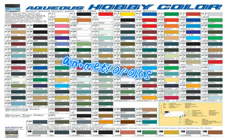 Mr Hobby Gunze Aqueous Color Acrylic H1 H100 Colours New Model Paint