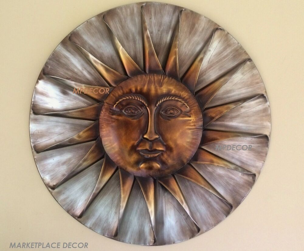 el sol sun face sunburst metal wall art hanging celestial indoor outdoor decor ebay. Black Bedroom Furniture Sets. Home Design Ideas