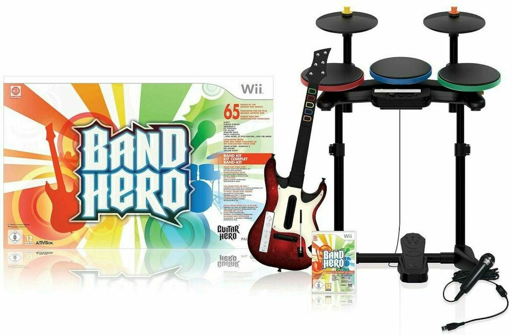 nintendo wii u wii band hero super bundle kit game set guitar drums microphone ebay. Black Bedroom Furniture Sets. Home Design Ideas