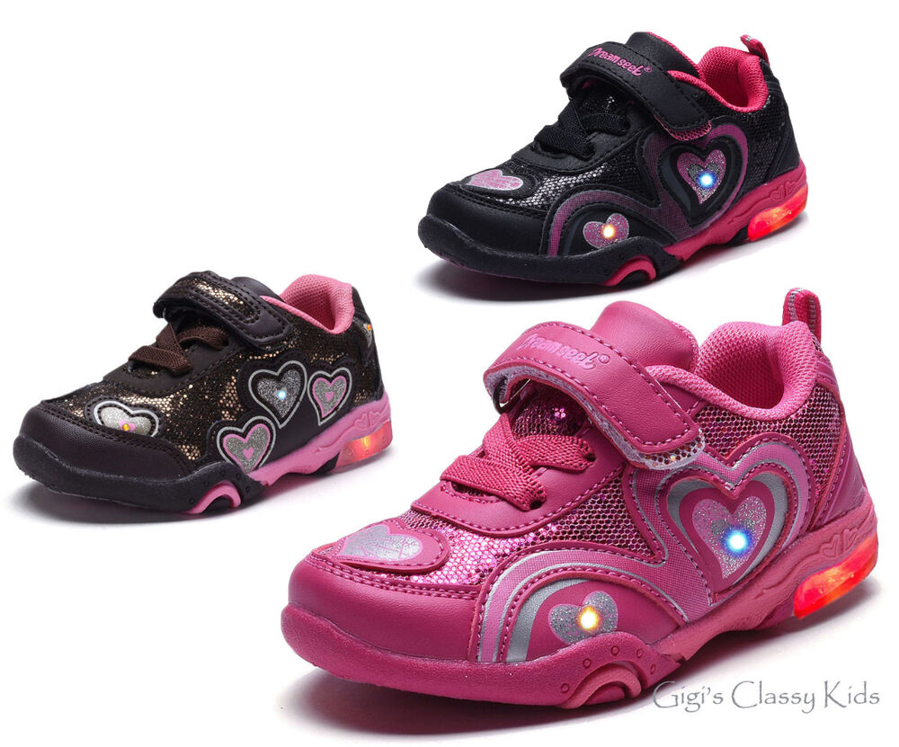 New Baby Toddler Girls LED Light Up Tennis Shoes Glitter