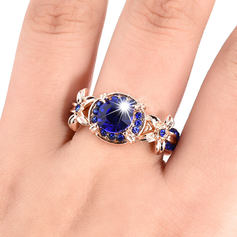 Women Blue Sapphire Rose Gold Filled Engagement Ring Size ...