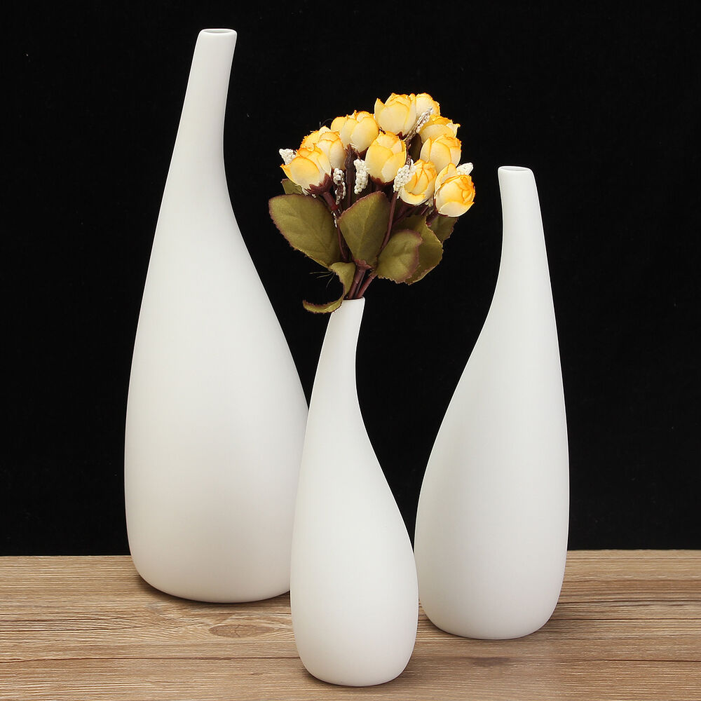 3 sizes modern streamline ceramic vase white flower for Decoration vase