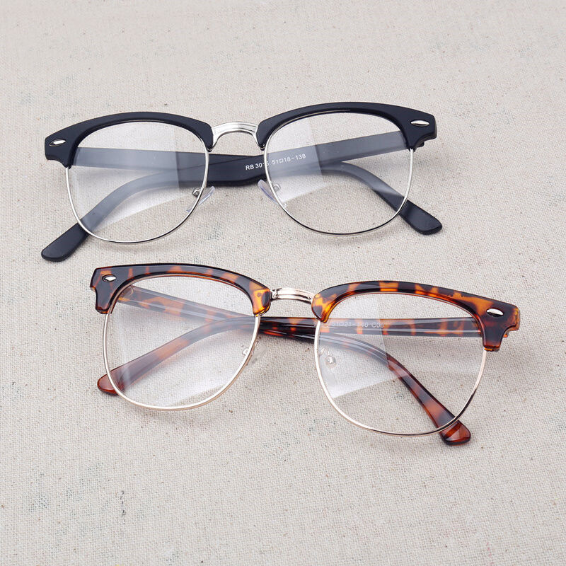 Stylish Vintage Retro Half Frame Clear Lens Glasses Nerd ...