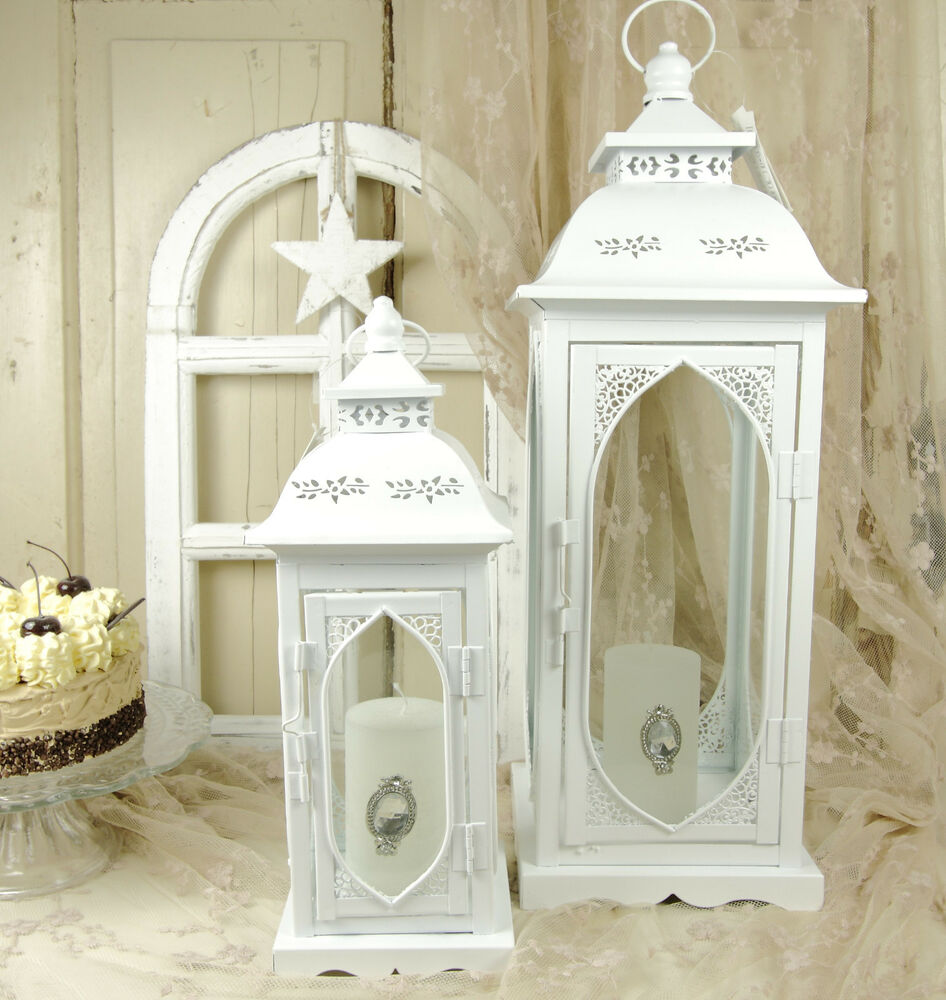 laterne metall wei ornamente landhaus shabby vintage nostalgie 2 gr en deko ebay. Black Bedroom Furniture Sets. Home Design Ideas